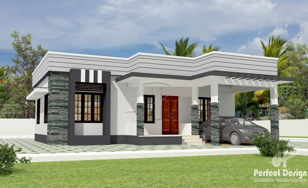 1044 Square Feet 3 Bedroom Contemporary Model Home Design and Plan