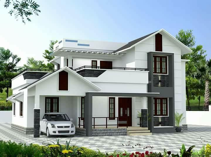 1832 Square Feet 4 Bhk Beautiful Slop Roof Modern House