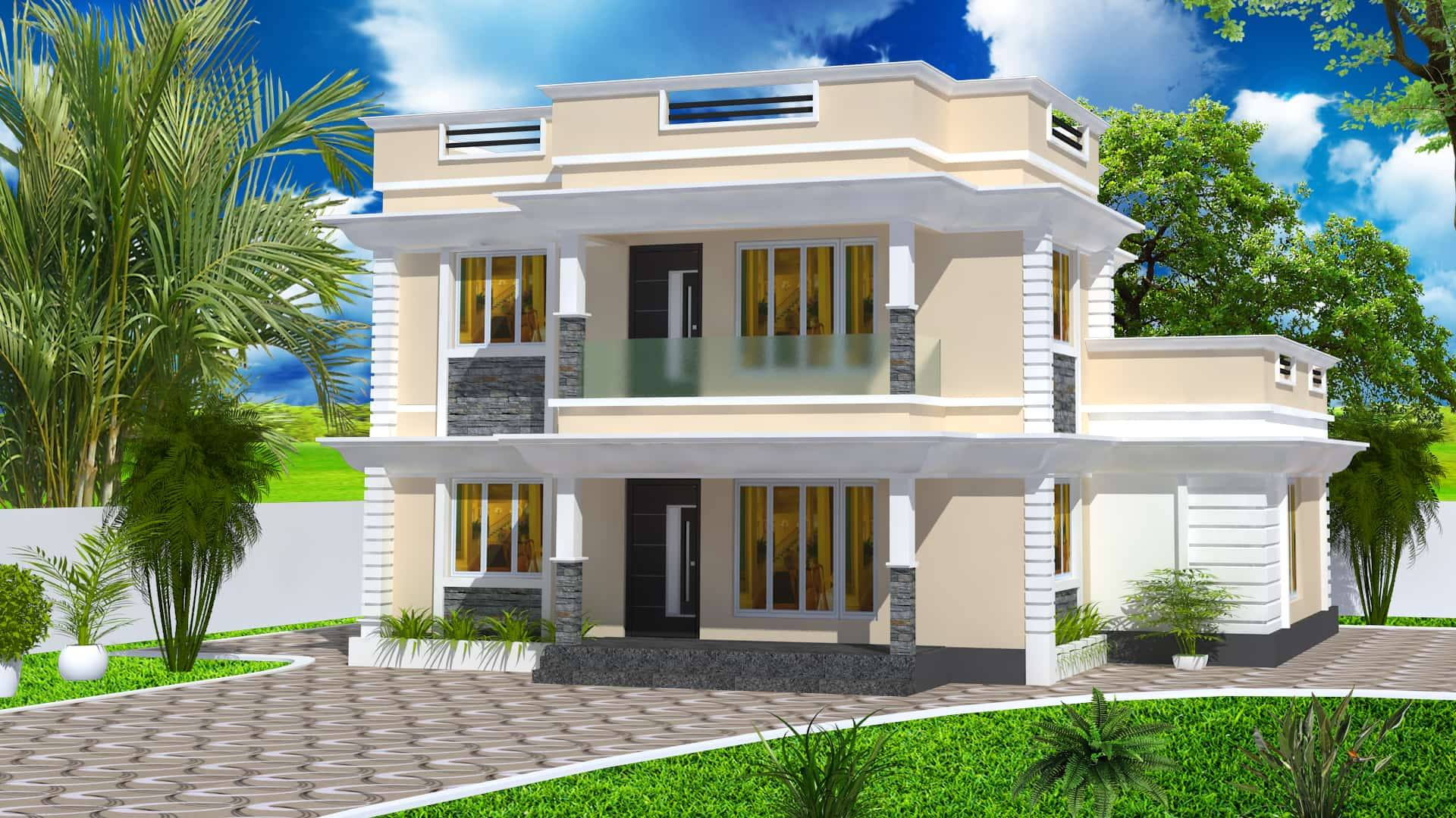 2000 square feet 4 bedroom double floor modern home design for 2000 sq ft contemporary house plans