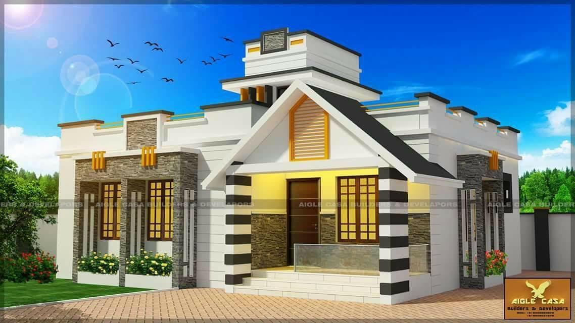 990 Square Feet 2 Bedroom Single Floor Modern Home Design and Plan