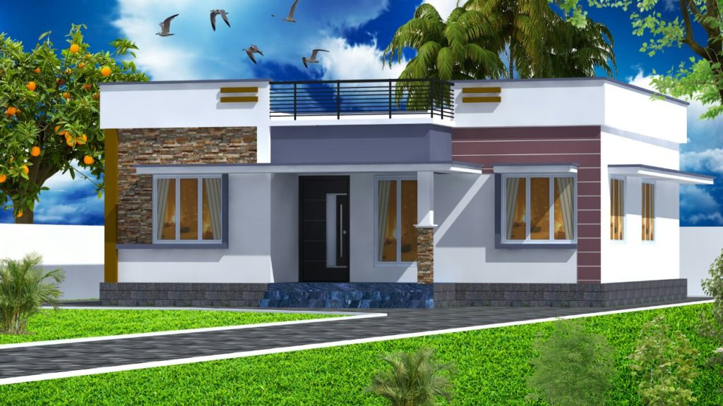 954 Square Feet 2 Bedroom Modern Single Floor Low Budget Home Design and Plan