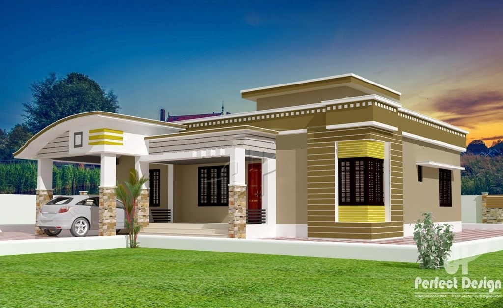 1129 Square Feet 3 Bedroom Single Floor Modern Home Design and Plan