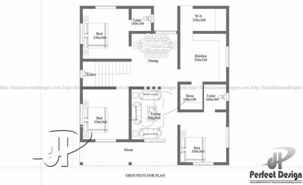 1150 square feet 3 bedroom single floor modern home design for 1150 sq ft house plans