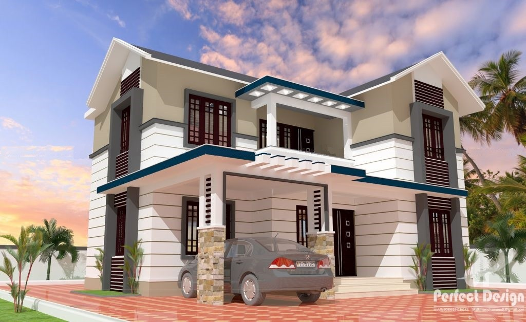 1452 Square Feet 4 Bedroom Double Floor Contemporary House Design and Plan