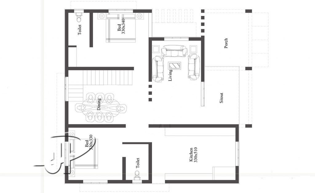 1050 square feet 2 bedroom new modern single floor home design and plan