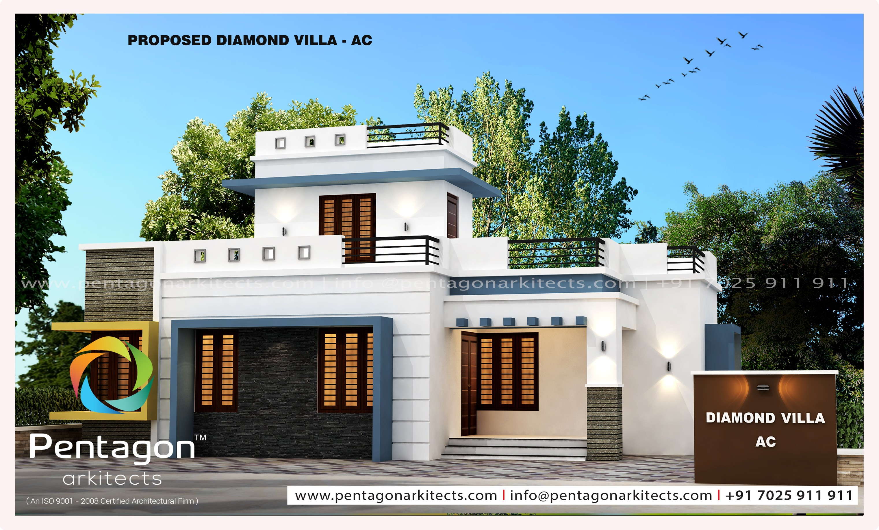 1125 Square Feet 3 Bedroom Contemporary Modern Single Floor Home Design and Plan