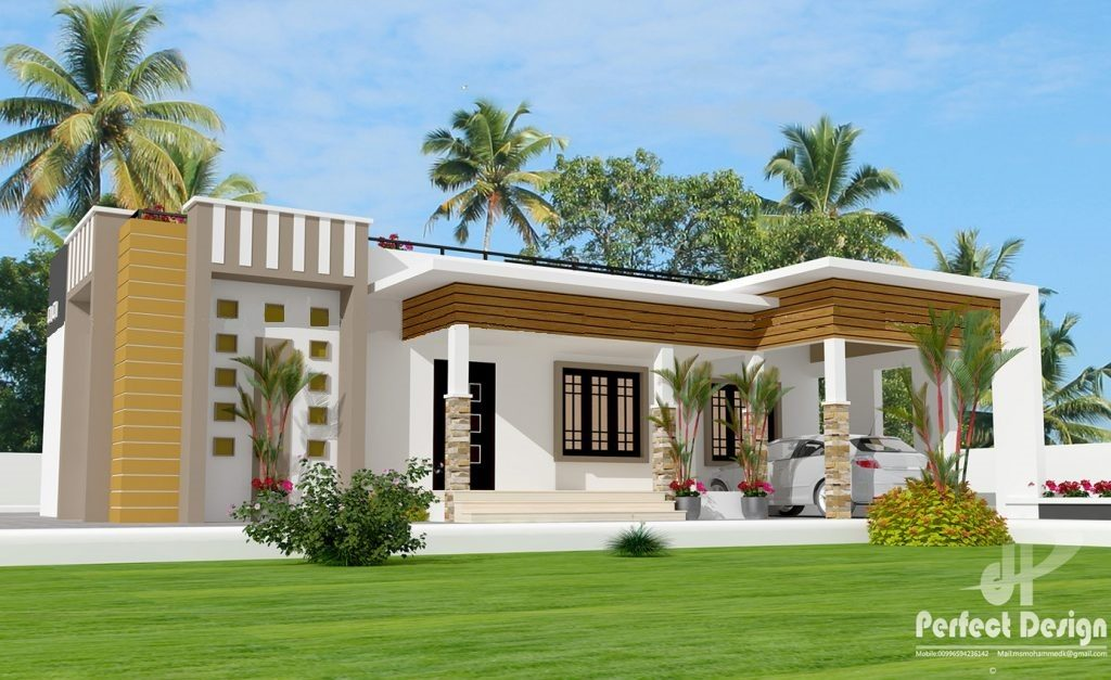 1237 Square Feet 3 Bedroom Single Floor Contemporary Style Modern House Design and Plan