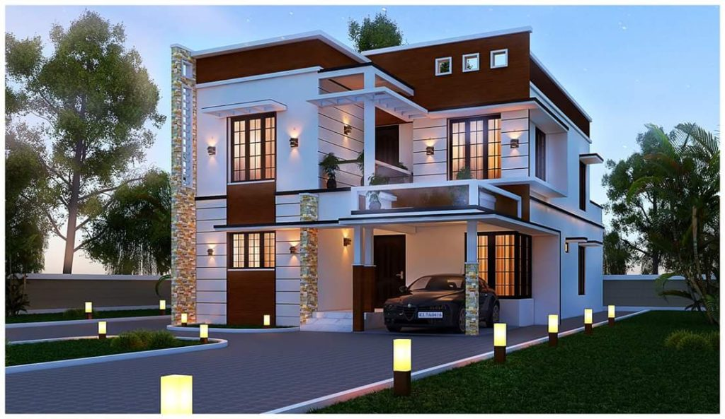 2650 Square Feet 4 BHK Contemporary Modern Double Floor Home Design and Plan
