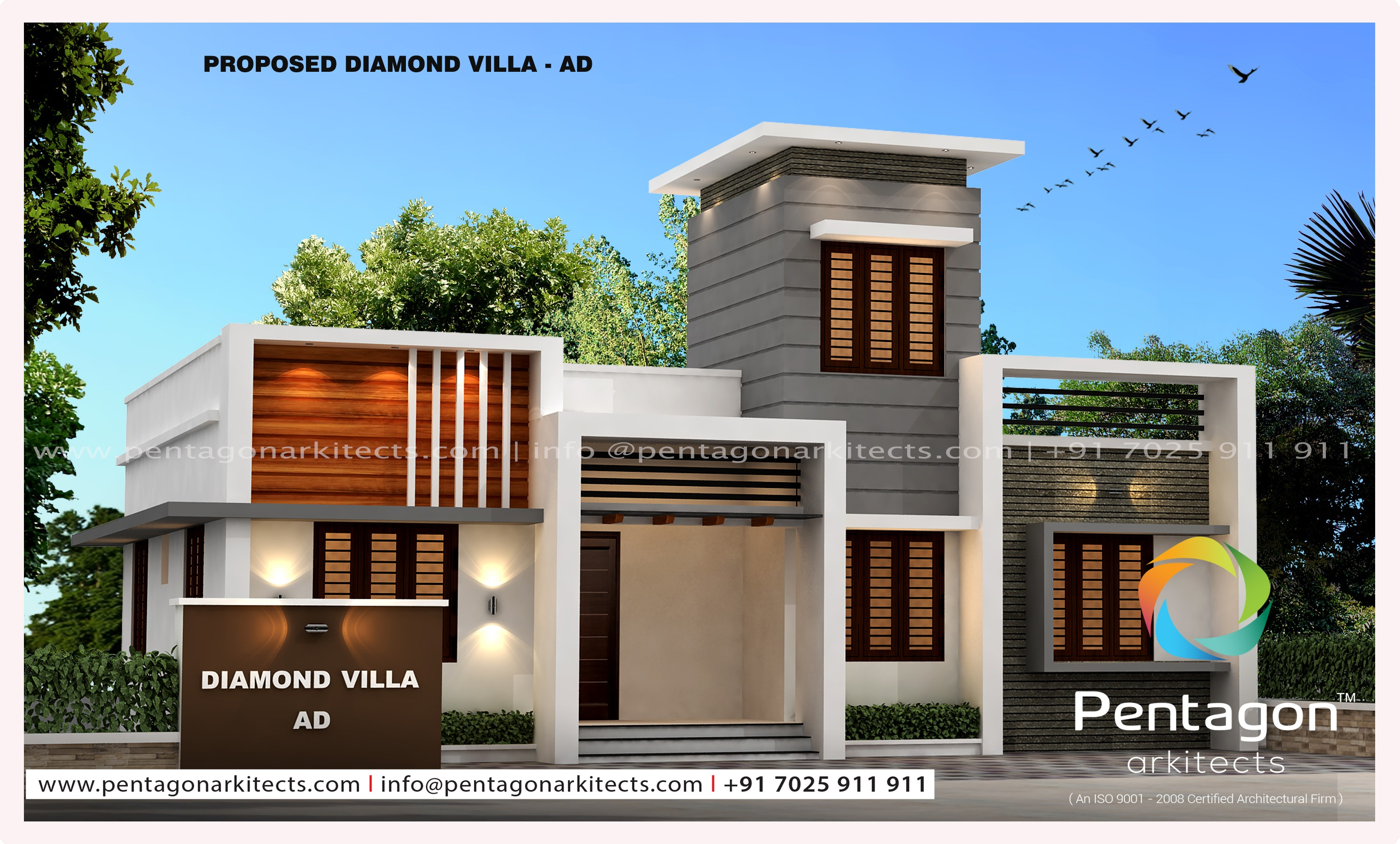 953 Square Feet 3 Bedroom Single Floor Contemporary House Design and Plan
