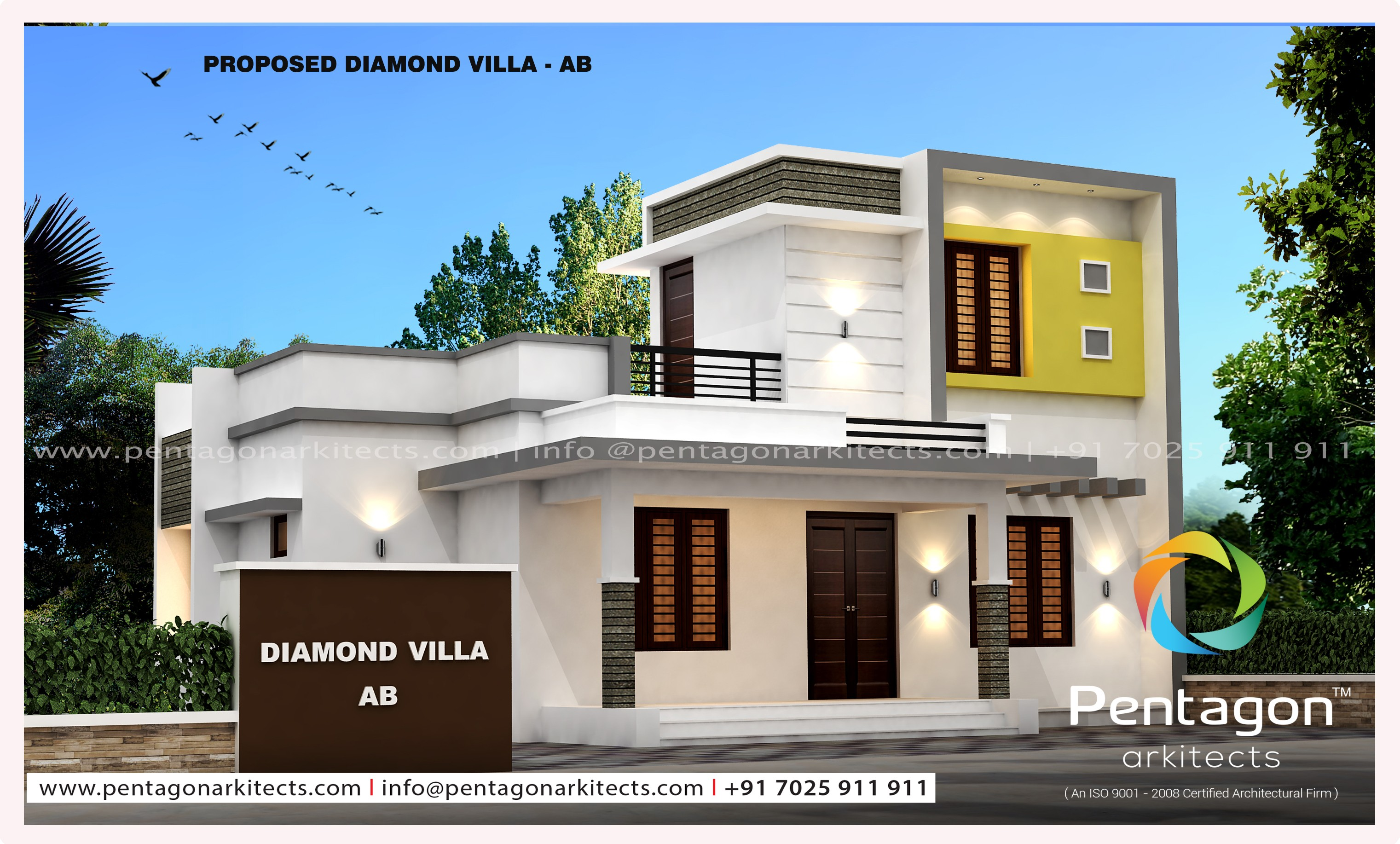 985 square feet 3 bedroom modern contemporary low budget for Low budget modern 3 bedroom house design