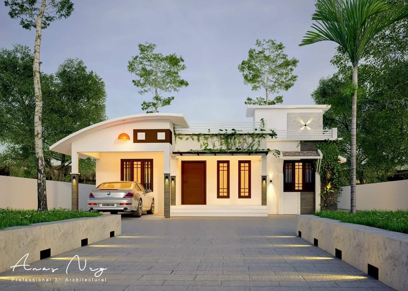 1130 Square Feet 3 Bedroom Single Floor Modern House Design and Plan