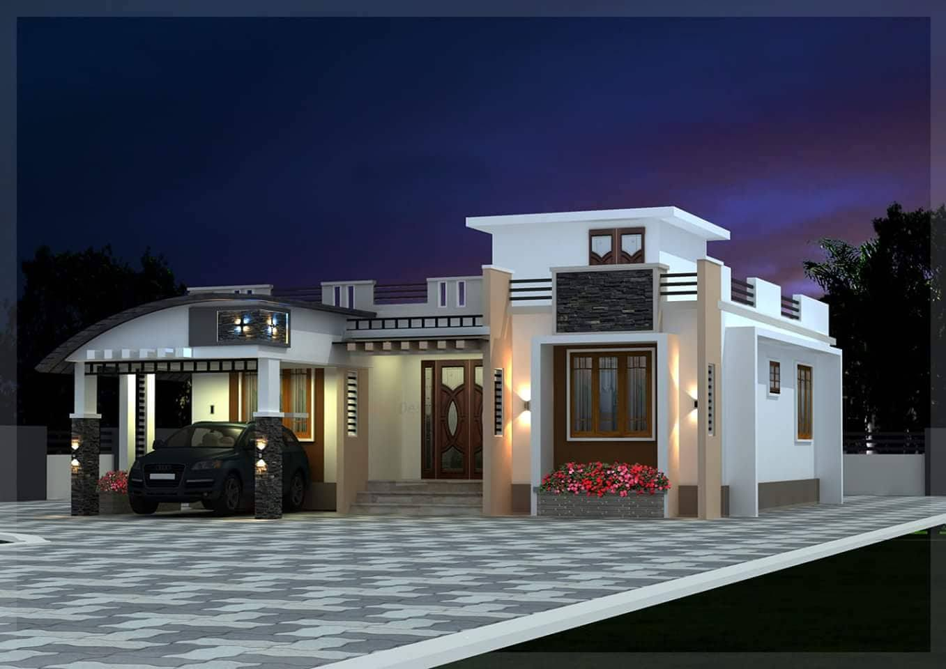 1540 Square Feet 3 Bedroom Single Floor Modern Home Design and Plan ...