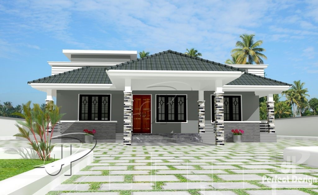 1086 Square Feet 3 Bedroom Traditional Style Single Floor Home Design and Plan