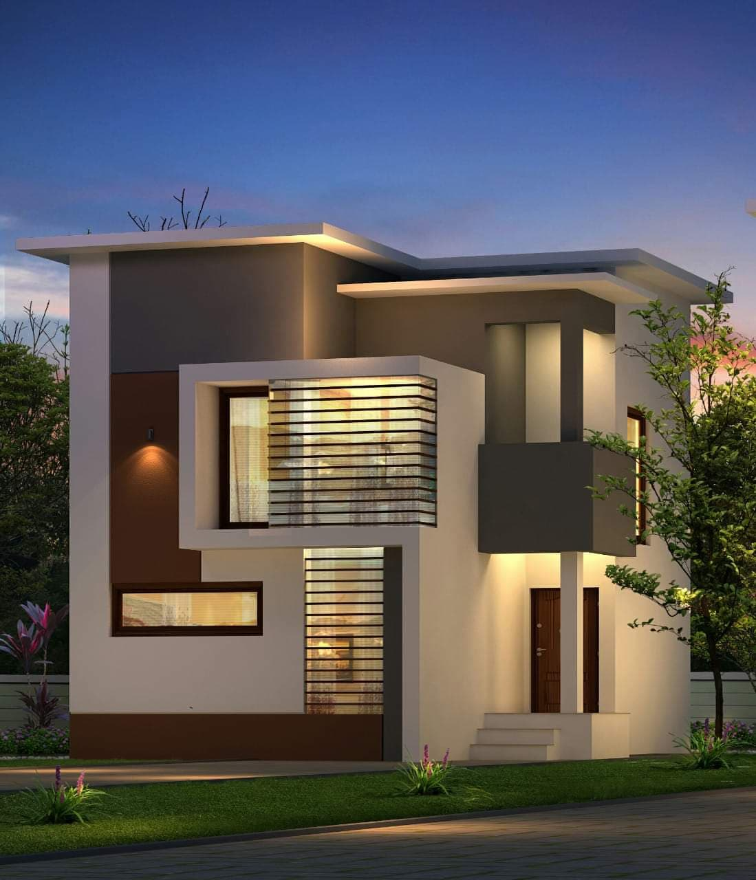 1148 Square Feet 3 Bedroom Contemporary Modern Style Double Floor Home Design and Plan