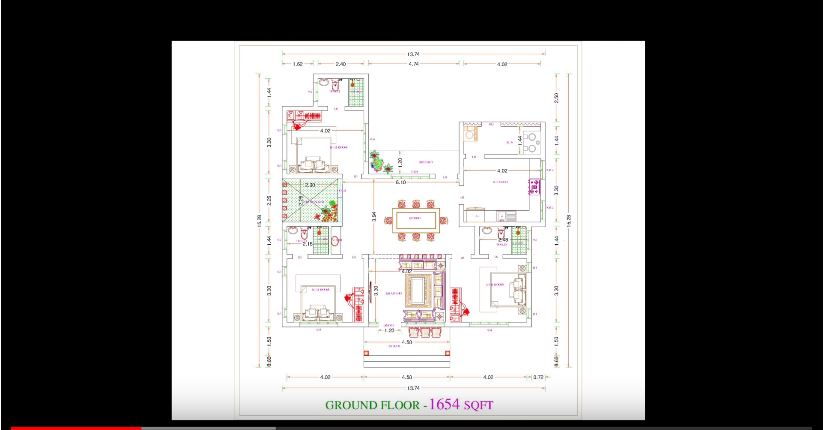 1654 Square Feet 3 Bedroom Single Floor Modern Slop Roof House with Plan