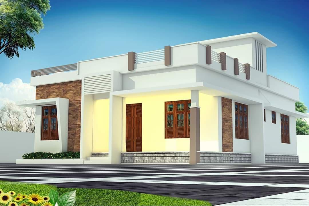 950 Square Feet 2 Bedroom Single Floor Modern Home Design and Plan