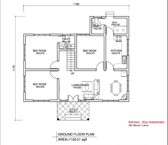 1155 Square Feet 3 Bedroom Single Floor Budget House with Plan