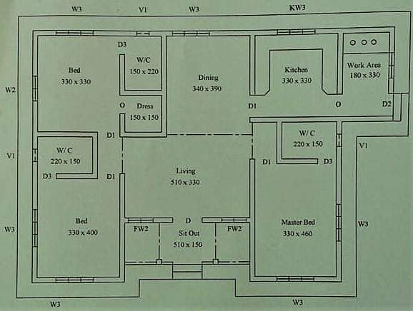 1250 Square Feet Single Floor Modern Beautiful 3 Bedroom