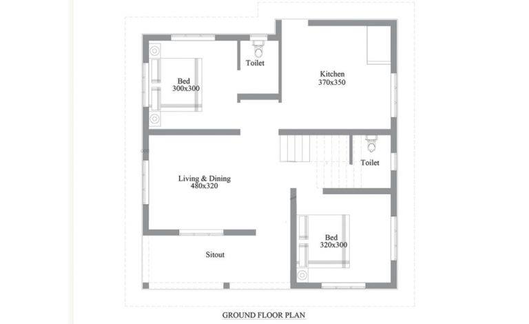 702 sq ft 2 bedroom single floor low budget simple and cute house and plan 2 - Get Simple Small House Design 2 Bedroom Pictures