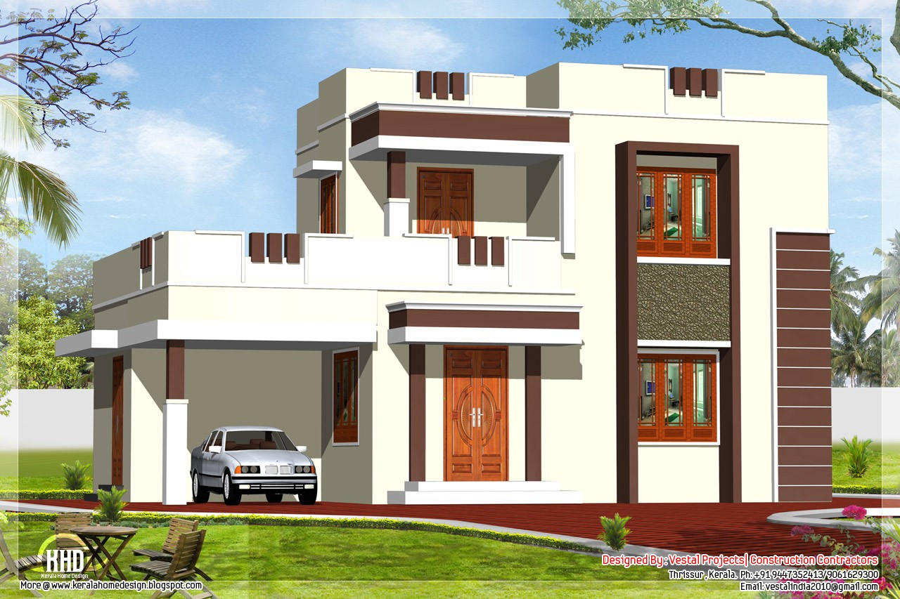 Roof Design Ideas: 1400 Square Feet 4 Bedroom Contemporary Style Double Floor