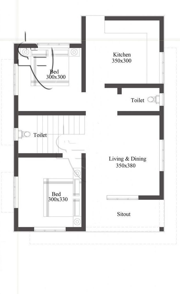 720 Square Feet 2 Bedroom Low Budget Small House and Plan ...