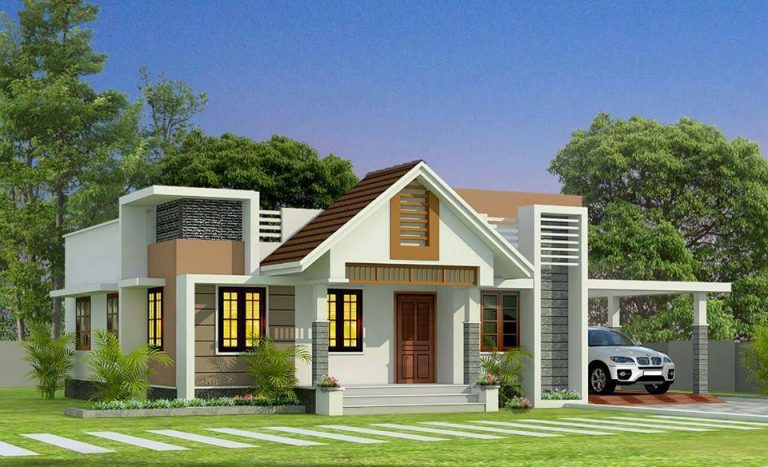 850 Square Feet 2 Bedroom Single Floor Modern Mix Roof Home