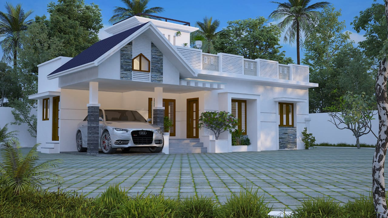 Photo of 1350 Square Feet 3 BHK Single Floor Modern Style Cute Budget Home