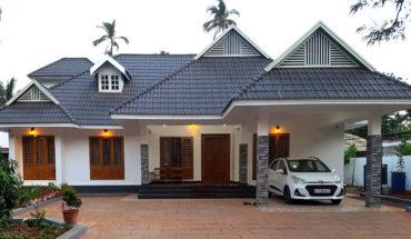 2000 sq ft 3 bedroom modern slope roof style single floor home at kannur