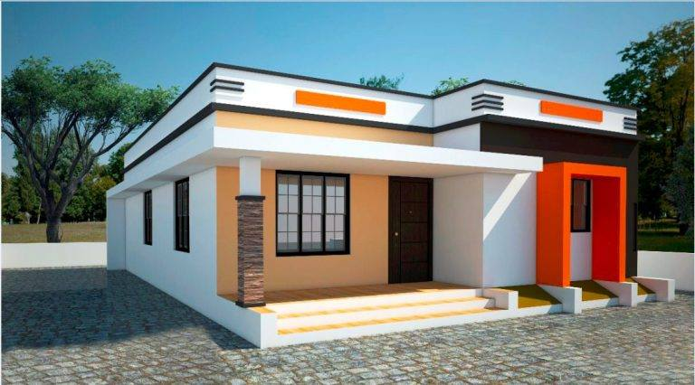 780 sq ft 2 bedroom flat roof modern single floor house and plan