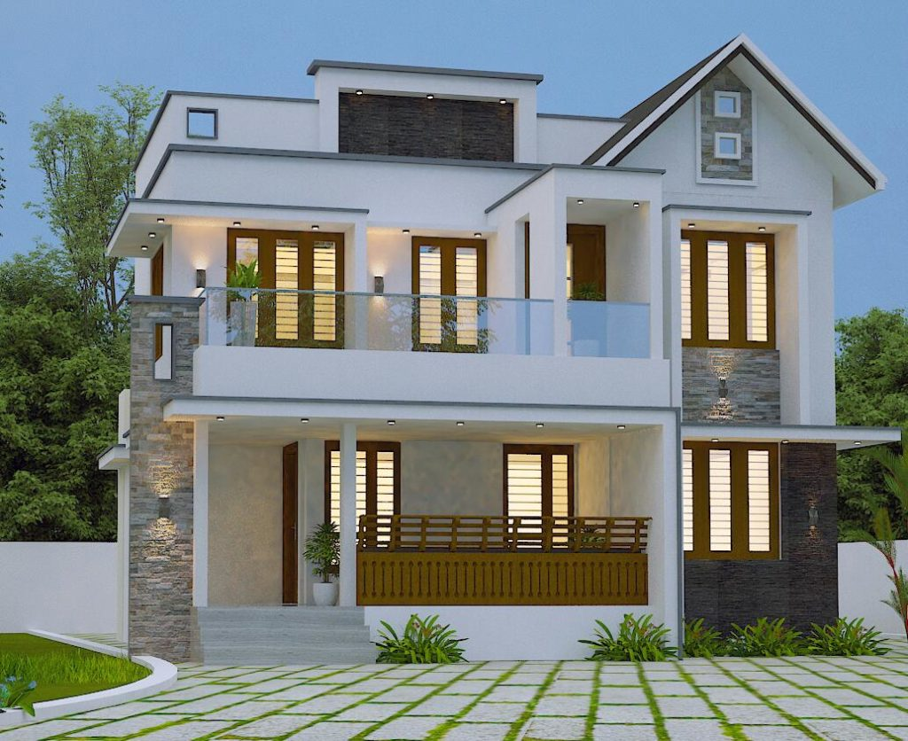 2250 sq ft 4 bedroom two floor modern sloped roof beautiful house
