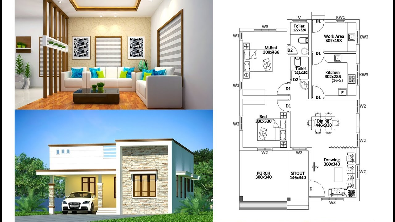 1169 sq ft 2 bedroom single floor contemporary style modern house and plan