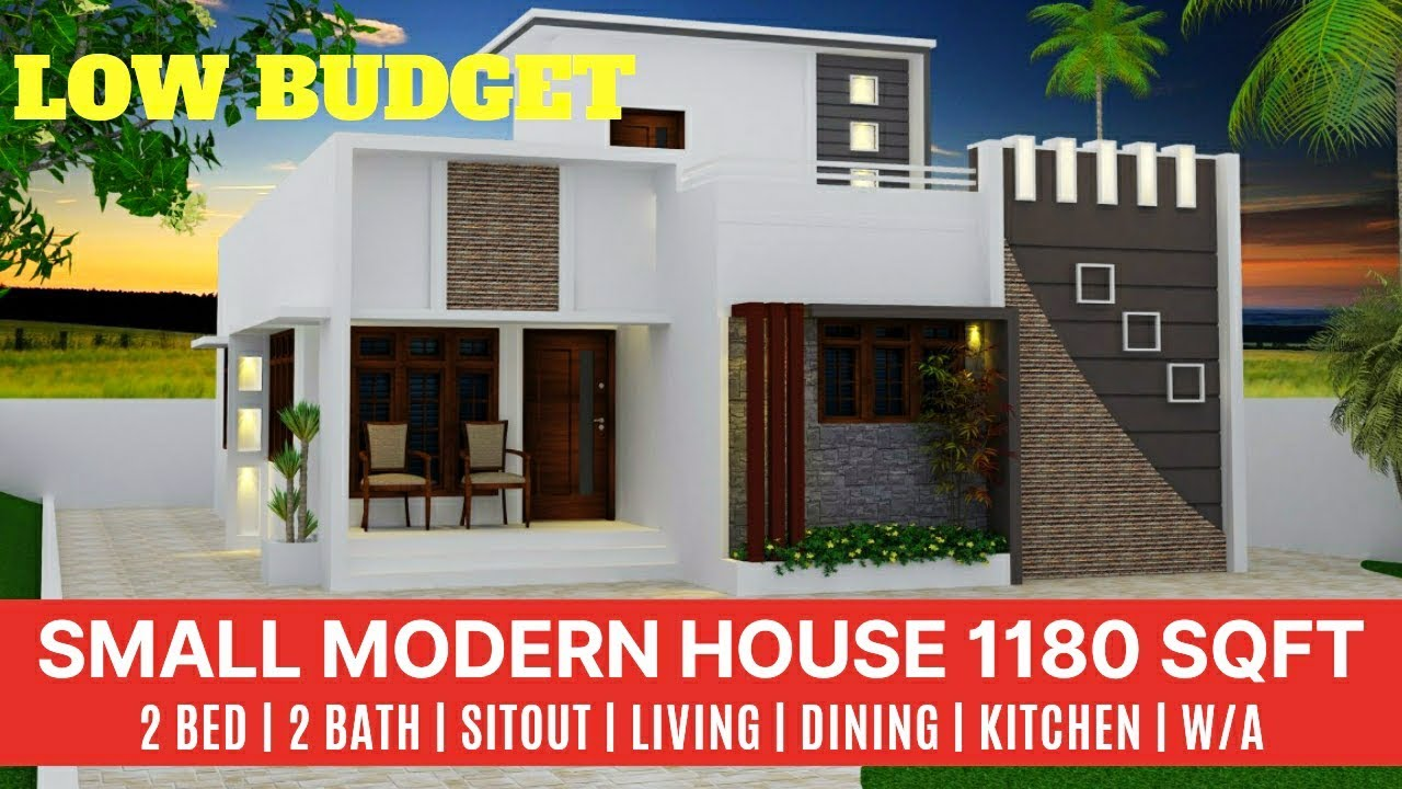 1180 sq ft 2 bedroom low budget single floor modern house and plan