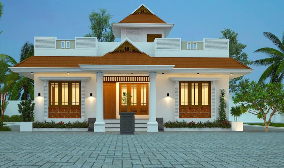 1393 sq ft 3 bedroom traditional style single floor beautiful house and plan