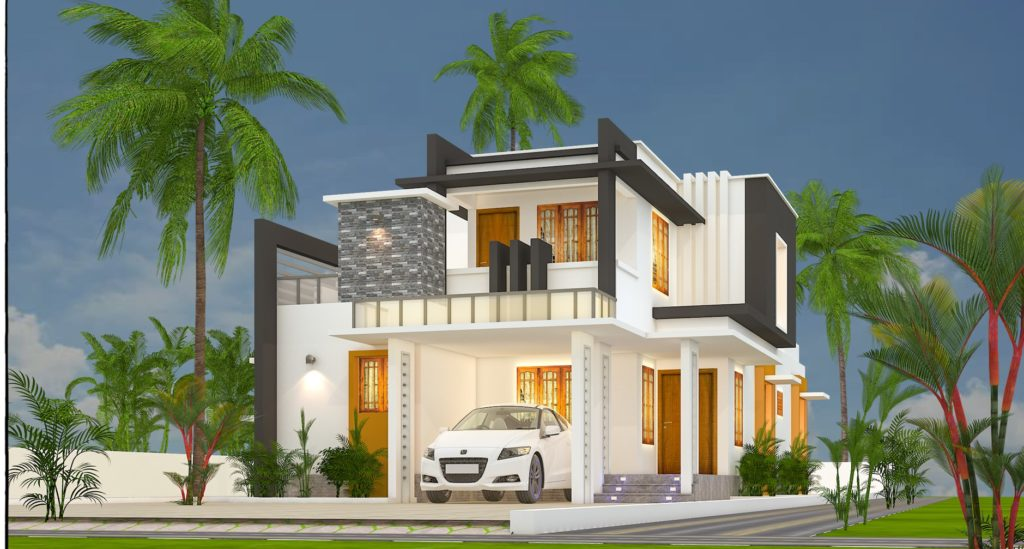 1861 sq ft 3 bedroom contemporary style flat roof beautiful home and plan