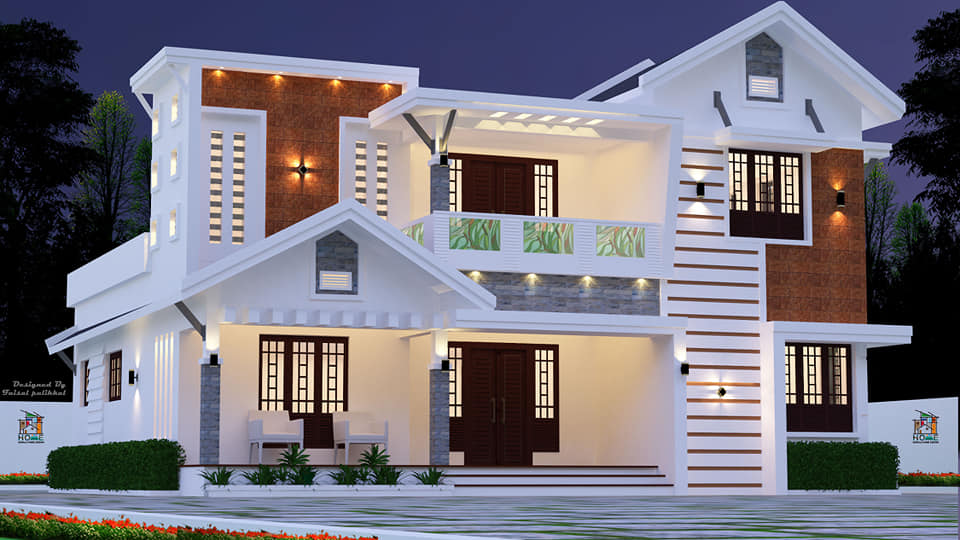 2070 sq ft 4 bedroom contemporary mix style two floor beautiful house