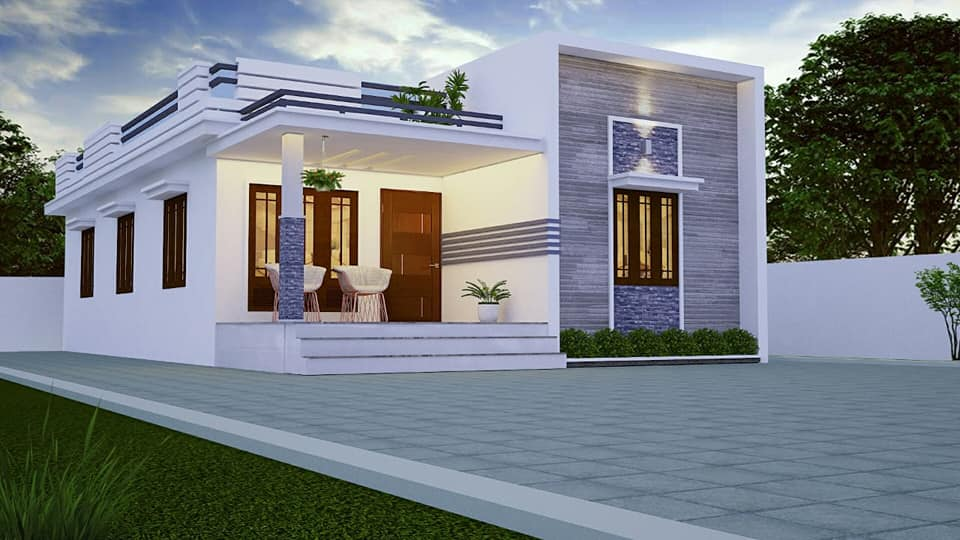 733 sq ft 2 bedroom single floor low budget cute and small beautiful house and plan