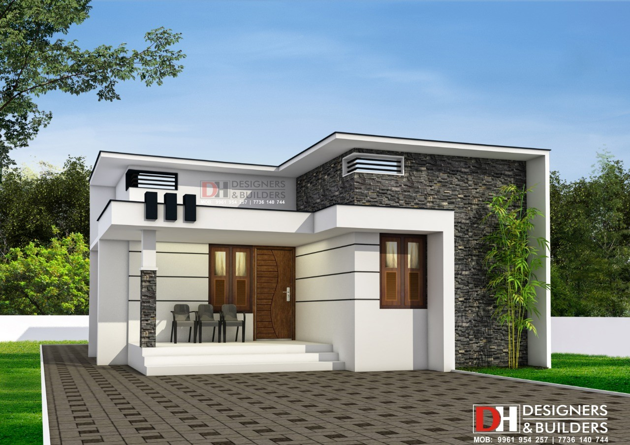 850 sq ft 2 bedroom single floor modern contemporary style house design