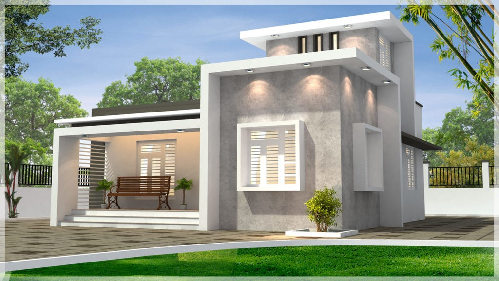900 sq ft 2 bedroom single floor contemporary style modern house and plan