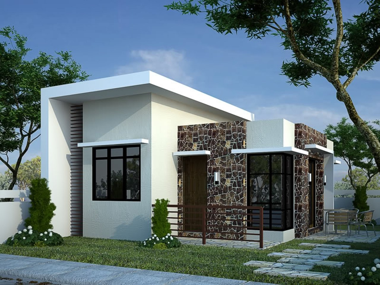 985 sq ft 2 bedroom simple and beautiful single floor modern house and plan