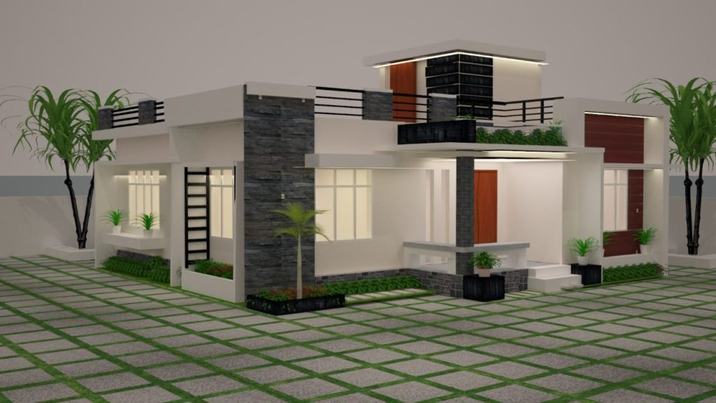 994 sq ft 3 bedroom single floor contemporary style low budget house and plan