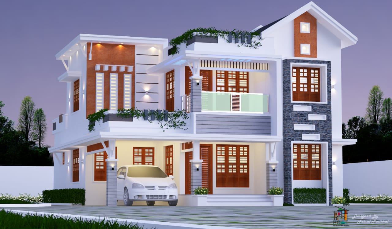 2100 Square Feet 4 Bedroom Modern Mixed Roof Beautiful Two Floor House