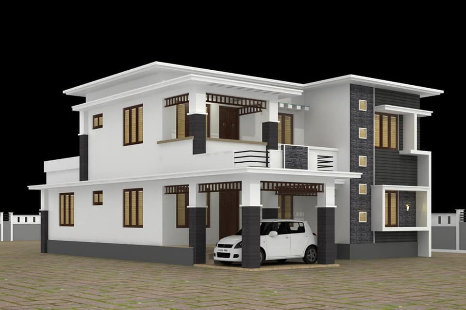 2450 sq ft 4 bedroom contemporary style flat roof modern house and plan