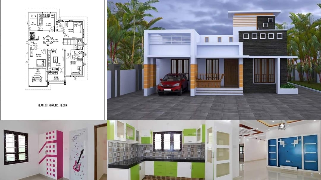 1270 Square Feet 3 Bedroom Single Floor Modern House and Plan