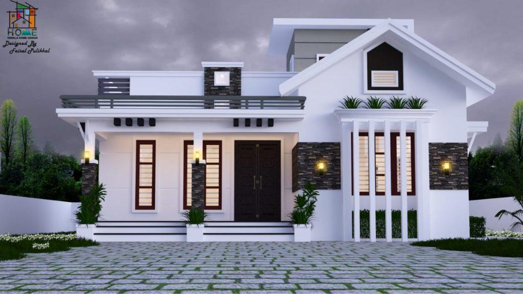 1450 Square Feet 2 Bedroom Modern Single Floor Mix Roof Beautiful House