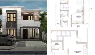 1658 Square Feet 3 Bedroom Contemporary Style Flat Roof House and Plan