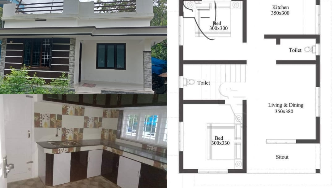 700 Square Feet 2 Bedroom Single Floor Beautiful house For 10 Lack and Free Plan
