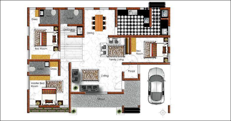 1530 Square Feet 3 Bedroom Single Floor Amazing Home Design and Plan